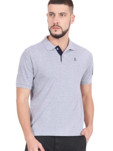 Plain Cotton Grey Polo T shirt for Men