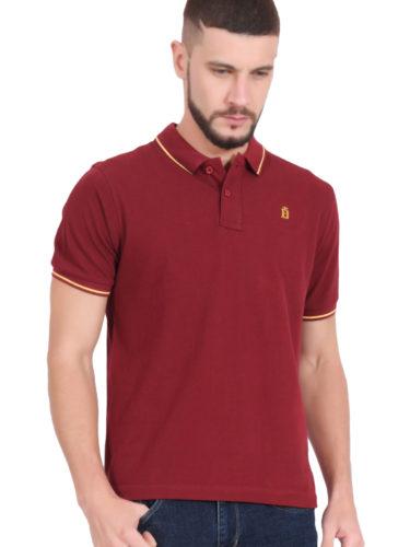 Plain Cotton Maroon Polo T shirt for Men