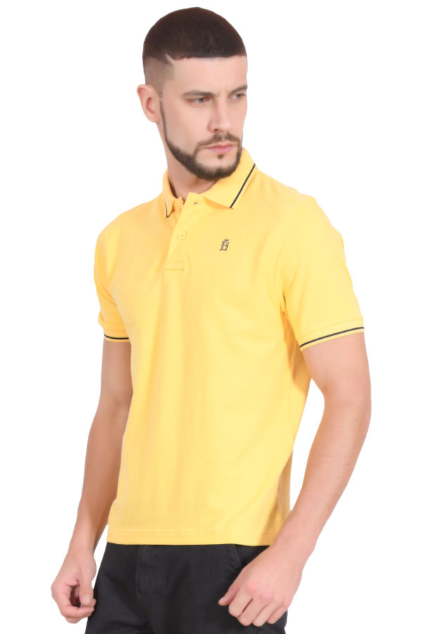 Plain Cotton Yellow Polo T shirt for Men