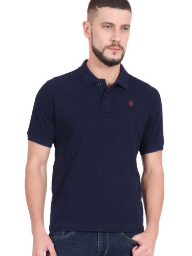 Plain Cotton Navy Blue Polo T shirt for Men